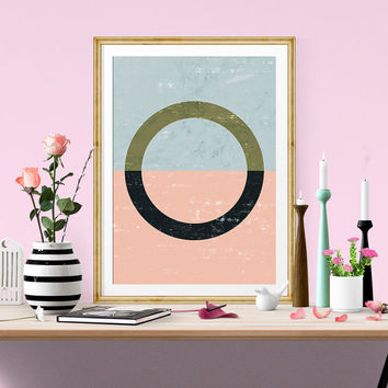 Geometric art, circle print, pink wall art, Watercolor abstract, minimalist art, Scandinavian print, Nordic design, Modern art, simple decor