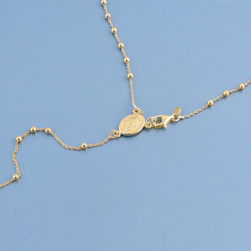 Italian 14K Yellow Gold Rosary Necklace Prayer Pendant