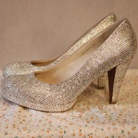 Bling Seamless crystal High heel shoe handmade w/ Swarovski element 3""