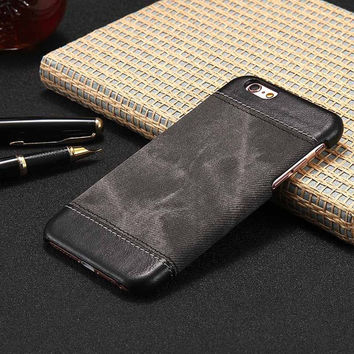 Case For iPhone 5 5S SE 6 6S Plus iPhone 7 Case Cover Luxury Simple Retro Jeans Style Hard Case For iPone 6 6S Plus 7 Phone Case -0405