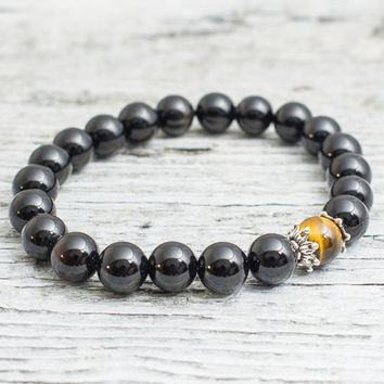 Black onyx and tiger eye beaded stretchy bracelet, mens bracelet, womens bracelet