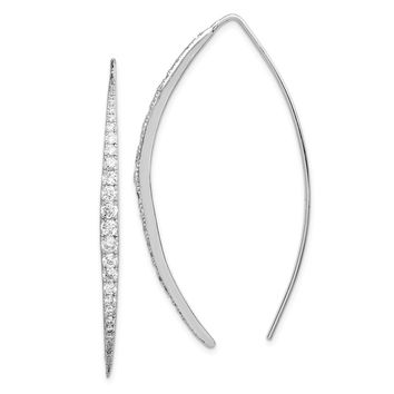 925 Sterling Silver Rhodium-plated CZ Threader Earrings