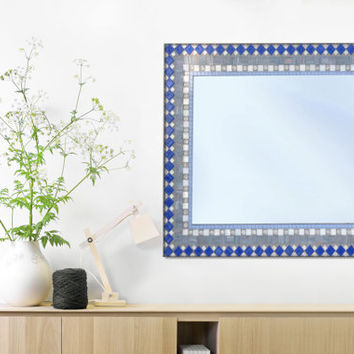 Large Wall Mirror in Gray Silver and Blue