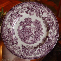 "Purple Transferware Tonquin 6.5""  Plate Scenic Sailboat Swans and Roses Clarice Cliff Staffordshire Vintage"