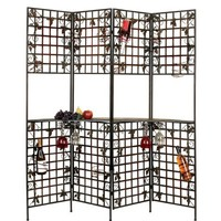 4- Panel Unique Wine Holder Metal Bar Screen