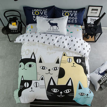fashion cartoon style bedding sets lovely colorful cats pattern linens cotton twin/single/queen/king/double size sheets sets