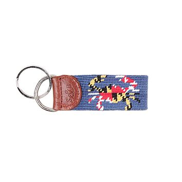 Maryland Flag Crab Needlepoint Key Fob in Classic Navy by Smathers & Branson