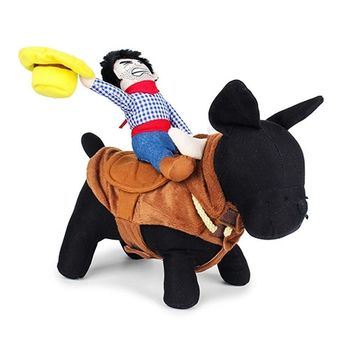 Pet Dog Halloween Christmas Cowboy Funny Costume Dog Riders Clothes