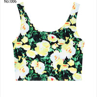 Sexy Short Girls Crop Top Flowers Tropical Printed Casual Sports Jogging Women Bare Midriff Tank Top