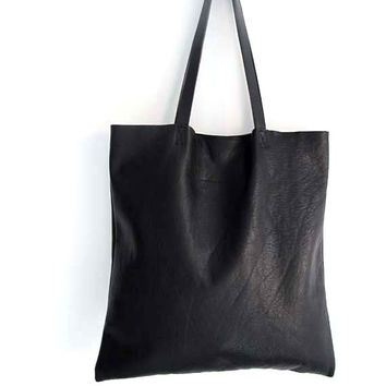 Gorgeous Supple Black Leather Tote Bag , Market Bag , Everyday Bag