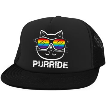 Gay Pride Trucker Hat Rainbow Cat Purride