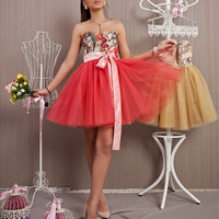 Tulle Red Gown /Short Prom Dress 2016 / Paris Rose Pattern Dress / Bridesmaid Tutu Dress / Puffy Dress / Ballerina Dress/ Sweet 16 Dress