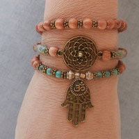 Protection Genuine Turquoise with Calsilica, Dreamcatcher, Om, Hamsa Hand, wrap Meditation bracelet, Reiki Charged, free shipping