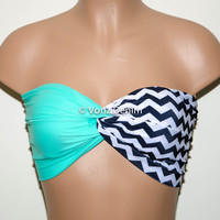 Mint and Chevron Bandeau Top, Swimwear Bikini Top, Twisted Top Bathing Suits, Spandex Bandeau Bikini