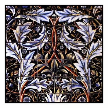Arts & Crafts William Morris Acanthus Flower Counted Cross Stitch or Counted Needlepoint Pattern