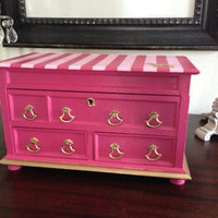 Vintage Musical Jewelry Box Hand Painted and Decoupaged in Victoria's Secret Pink Inspired Design