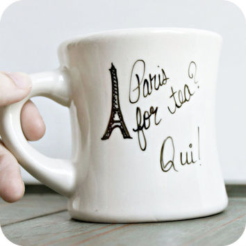 Paris France Funny Mug tea mug tea cup diner mug black white hand painted eiffel tower