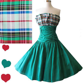 Vintage 80s Dress // Plaid Strapless Full Skirt Red White XS S Extra Small Small Prom Dance Shelf Bust Ruffle Party