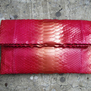 Metallic Pink Fold Over Python Snakeskin Leather Clutch Bag