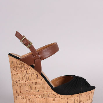 Bamboo Gathered Peep Toe Cork Wedge