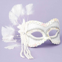 Karneval 1-2 Mask - Feathers & Beads White