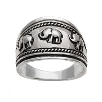 Silver Plated Elephant Ring (Grey)