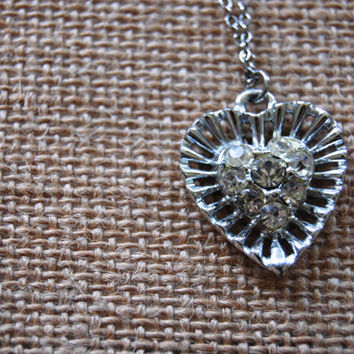 Vintage Rhinestone Heart Necklace, Silver Tone Necklace, Costume Jewerly