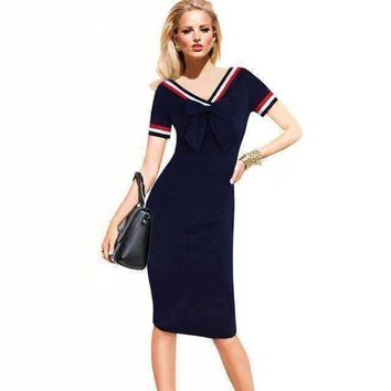 SHIPS FROM USA Adogirl Fashion Lovely Students Bow V Neck Sailor Midi Dress Spring Summer Slim