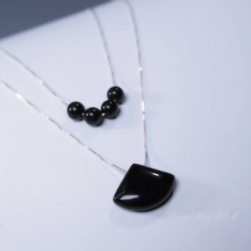 Black Onyx Necklace Sterling Silver Layered , 925 Silver Box Chain Genuine Geommetric Fan Shaped Black Agate Multi Strand Black  Necklace
