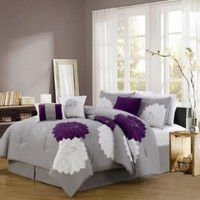 7 Piece Queen Provence Embroidered Comforter Set:Amazon:Home & Kitchen