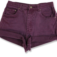 Vintage 90s Maroon Purple Colored Dark Wash High Waisted Rise Cut Offs Cuffed Rolled Jean Denim Shorts – Size 29/30
