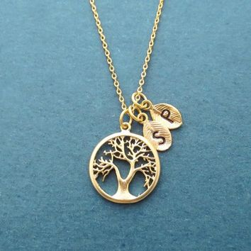 Personalized, Initial, Tree of life, Gold, Silver, Necklace, Birthday, Best friends, Sister, Gift, Jewelry