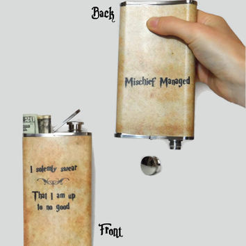 STASH FLASK  - I solemnly swear that I am up to no good  -  Harry Potter marauders map -  Mischief Managed - Stainless steel