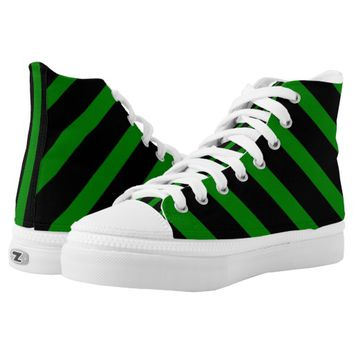 Cute Striped Pattern in Black and Kelly Green High-Top Sneakers
