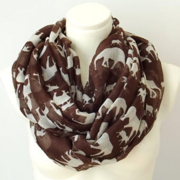 Elephant Print Brown Infinity Scarf  Chunky Scarf Spring Summer Colors Pareo