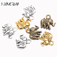 30spcs Tibetan silver Thailand Elephant Charm Pendant Findings For Craft Jewelry Making 12x12mm hole about 2mm