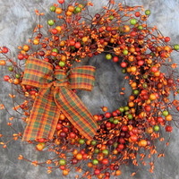 Fall Large Berry Orange Pip Berry Primitive Wreath - Fall Wreaths - Halloween Wreaths - Thanksgiving Wreath