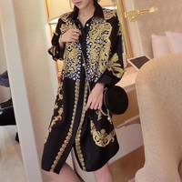 """Versace"" Temperament Fashion Retro Print Long Sleeve Lapel Shirt Middle Long Section Cardigan Dress"