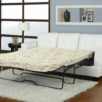Diamond white bonded leather match upholstered pull out sleeper sofa with queen pull out mattress