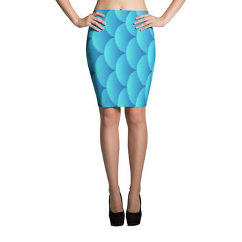 Fish Scale Print Cut & Sew Pencil Skirt