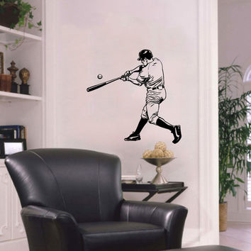 Vinyl Decal Sport Sportsman Man Playing Baseball Bat Home Wall Decor Stylish Sticker Mural Unique Design Kids for Any Room V780