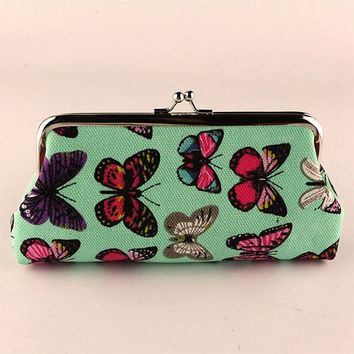 Ladies Butterfly Wallet Storage Bag Canvas Wristlet Wallet Purse Evening Clutches