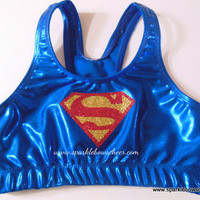 Super Steel Super Hero Metallic Sports Bra by SparkleBowsCheer