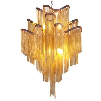 Modern Luxury Silver Gold Aluminium chain Pendant Hanging Light