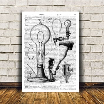 Retro print Vintage lamp poster Antique art Modern decor RTA208