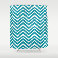 Ikat Chevron: Teal Shower Curtain by Eileen Paulino