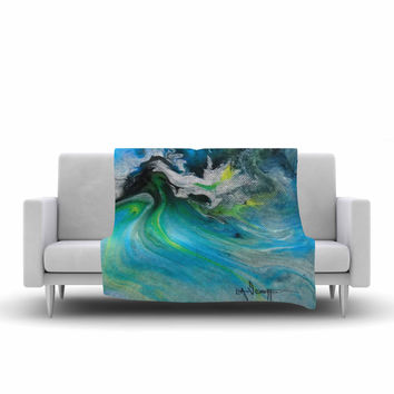 """Carol Schiff """"Turquoise And Green Abstract"""" Blue Teal Fleece Throw Blanket"""