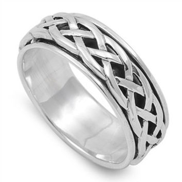 925 Sterling Silver Wicca Celtic Weave Spinner Ring 8MM
