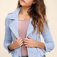Blank NYC Backhanded Periwinkle Blue Suede Leather Moto Jacket