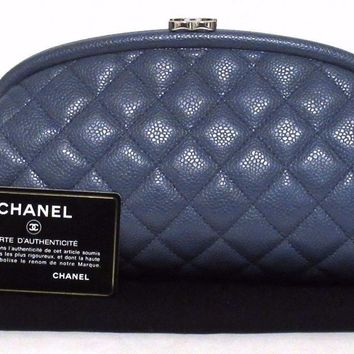 Auth CHANEL Caviar Skin leather Clutch Bag A46430 Navy Quilting (391006)